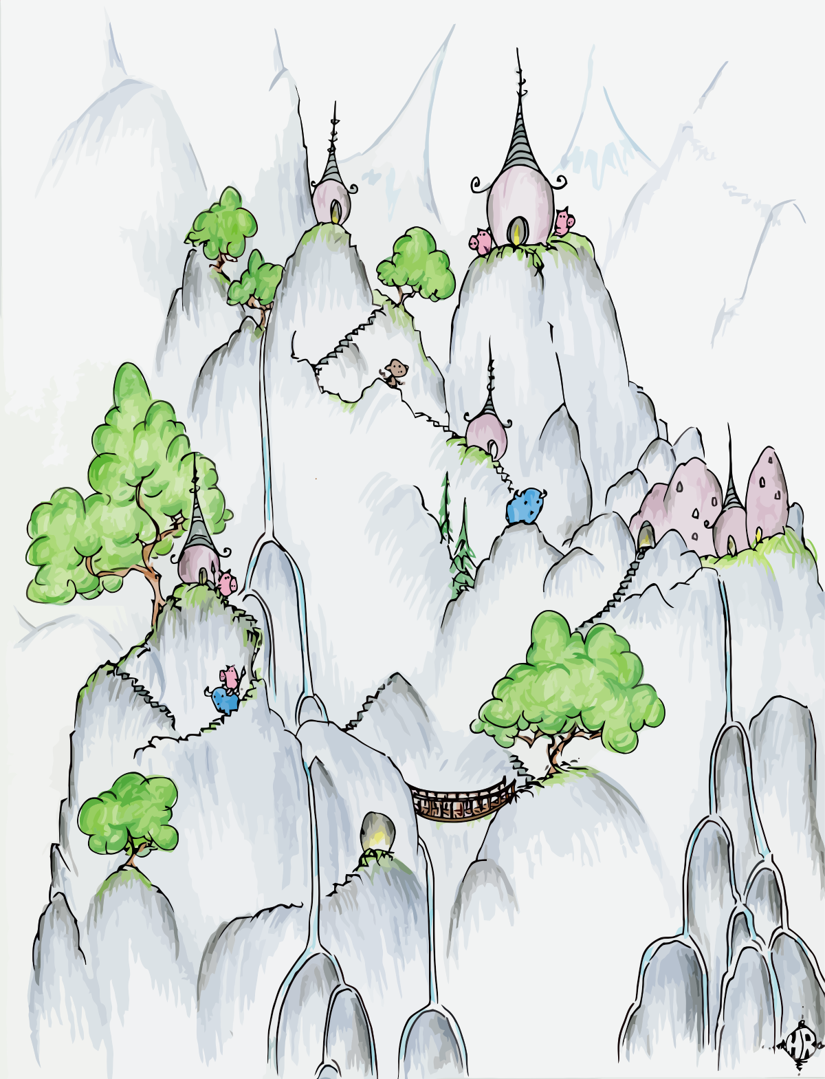 pigs on cliffs with waterfalls ands blue bison and a monkey